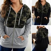 Fashion Camouflage Spliced Hooded Oversized Plus-size Sweatshirt Jacket Outerwear