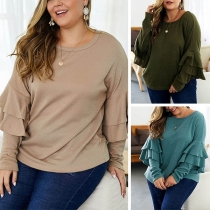 Fashion Solid Color Lotus Sleeve Round Neck Plus-size Top