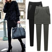Mode einfarbig hohe Taille Mock zweiteilige Leggings(Die Größe ist klein)