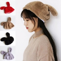 Cute Style Rabbit Ears Plush Beret