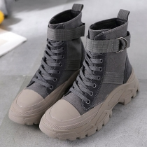 Fashion Thick Sole Round Toe Lace-up Martin Boots Booties