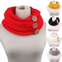 Fashion Solid Color Button Knit Infinity Scarf