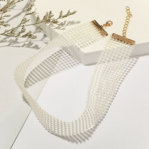 Fashion Imitation Pearl Choker Necklace