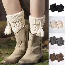 Fashion Solid Color Tassel Spliced Knit Leg Warmers