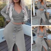 Sexy Long Sleeve V-neck Crop Top + Slit Hem Skirt Two-piece Set