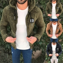 Fashion Solid Color Long Sleeve Hooded Man's Plush Jacket
