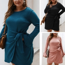 Elegant Solid Color Long Sleeve Round Neck Plus-size Dress