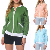 Fashion Contrast Color Long Sleeve Stand Collar Jacket