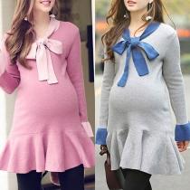 Sweet Style Long Sleeve Ruffle Hem Bow-knot Maternity Knit Dress