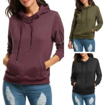 Fashion Solid Color Long Sleeve Hooded Sweatshirt