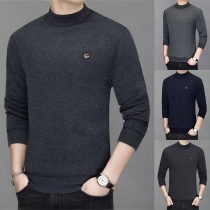 Fashion Solid Color Long Sleeve Mock Neck Man's Knit Top