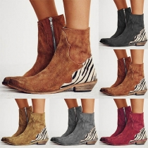 Fashion Flat Heel Pointed Toe Side-zipper Boots Booties