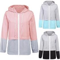 Fshion Contrast Color Long Sleeve Hooded Jacket