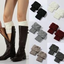 Fashion Solid Color Knit Leg Warmer 2 pair/set