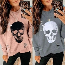 Coole modische Sweatshirt im Destroyed-Look mit Skullmuster