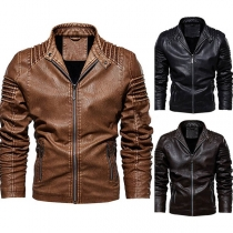 Fashion Solid Color Long Sleeve Stand Collar Man's PU Leather Coat