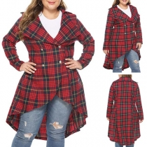 Fashion Long Sleeve Double-breasted High-low Hem Plaid Jacket