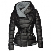 Fashion Long Sleeve Oblique Zipper Hooded Padded Coat
