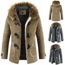 Retro Style Long Sleeve Faux Fur Spliced Hooded Horn Button Man's Coat