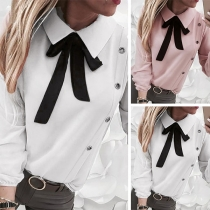 Sweet Style Long Sleeve Bow-knot Collar Solid Color Blouse