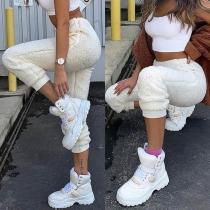 Fashion Solid Color High Waist Plush Pants