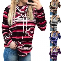 Fashion Long Sleeve Cowl Neck Printed Sweatshirt