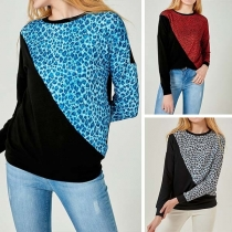 Fashion Contrast Color Long Sleeve Round Neck Leopard Spliced Sweatshirt