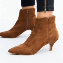 Sexy Pointed Toe High-heeled Side-zipper Ankle Boots Booties