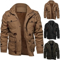 Fashion Solid Color Stand Collar Hooded Man's Jacket (Es fällt klein aus)