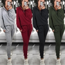 Fashion Solid Color Stand Collar Sweatshirt + Pants Sports Suit