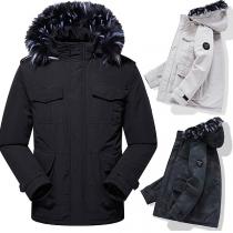 Moderne Gefütterte Jacke mit Kapuze mit Kunstpelz und Plüschfutter