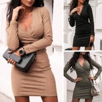 Sexy elegante Wickelkleid mit tiefem V-Ausschnitt