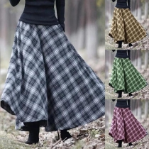 Retro Style High Waist Plaid Skirt