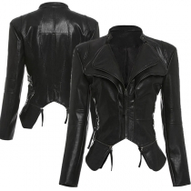 Punk Style Long Sleeve Irregular Hem Slim Fit PU Leather Jacket