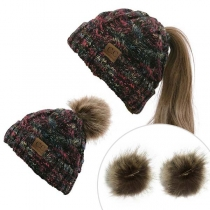 Fashion Mixed Color Detachable Hairball Knit Beanies