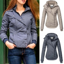 Fashion Solid Color Long Sleeve Hooded High-low Hem Coat