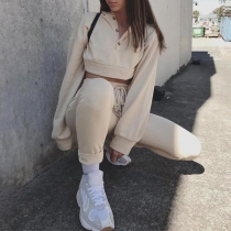 Sexy Long Sleeve Hooded Crop Top + Pants Two-piece Set