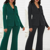 OL Style Long Sleeve Blazer + High Waist Suit Pants Two-piece Set