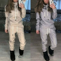 Fashion Solid Color High Collar Sweatshirt + Pants Two-piece Set