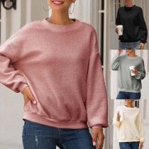 Fashion Solid Color Long Sleeve Round Neck Plush Sweatshirt