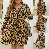 Sexy V-neck Long Sleeve Leopard Printed Plus-size Dress