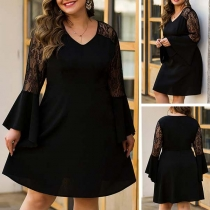 Sexy V-neck Lace Spliced Trumpet Sleeve High Waist Dress