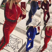Fashion Printed Spliced Sweatshirt Coat + Pants Sports Suit