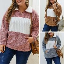 Fashion Contrast Color Long Sleeve Plus-size Plush Sweatshirt