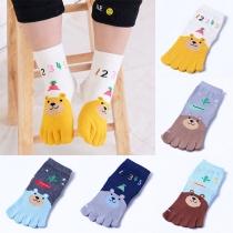 Cute Cartoon Contrast Color Toe Socks