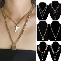 Retro Style Key&Lock Pendant Necklace