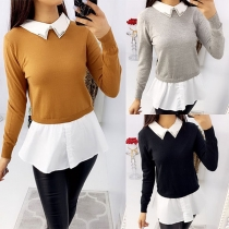 Fashion Contrast Color Long Sleeve Mock Two-piece Top