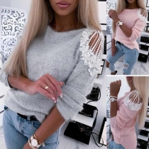 Sexy Off-shoulder Lace Spliced Long Sleeve Round Neck Plush Top