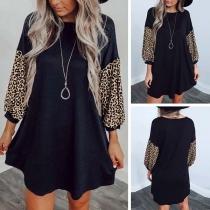 Fashion Leopard Spliced Long Sleeve Round Neck A-line Dress