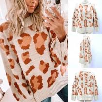 Fashion Leopard Printed Long Sleeve Mock Neck Sweater